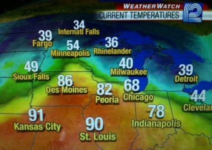 Sunday 4pm Temperatures April 3
